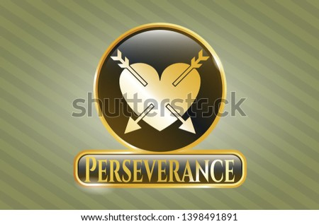 Golden emblem or badge with heart with two arrows icon and Perseverance text inside