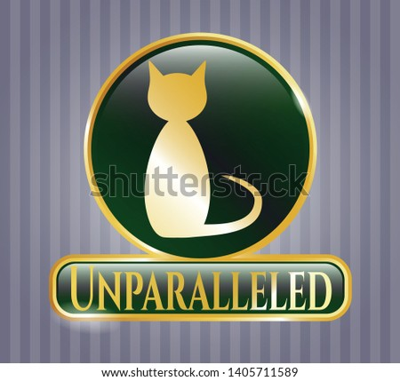 Golden emblem with cat icon and Unparalleled text inside