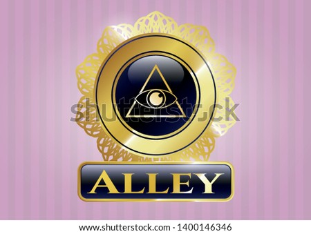 Golden emblem with illuminati pyramid icon and Alley text inside