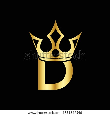 Golden Icon Letter D Logo. The crown of the king and queen with the logo icon letter D. Initial Letter D Design Vector Luxury Golden Stock fotó ©