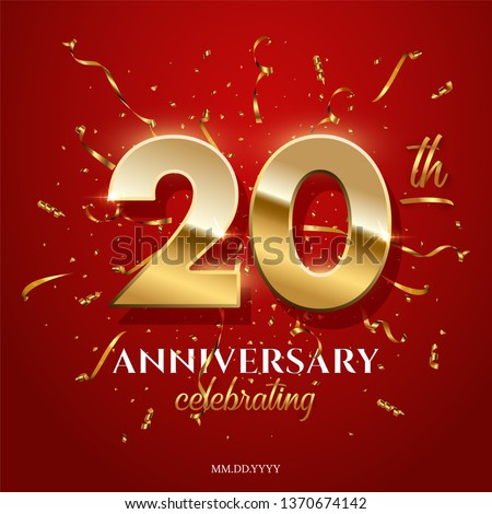 20 golden numbers and Anniversary Celebrating text with golden serpentine and confetti on red background. Vector twentieth anniversary celebration event square template