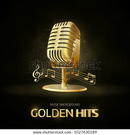 Golden  old vintage microphone icon. Radio station banner. Musical hits.  Vector design.