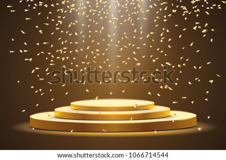 Golden podium with a spotlight on a dark background, with candy, sparkles. First place, fame and popularity. Vector illustration