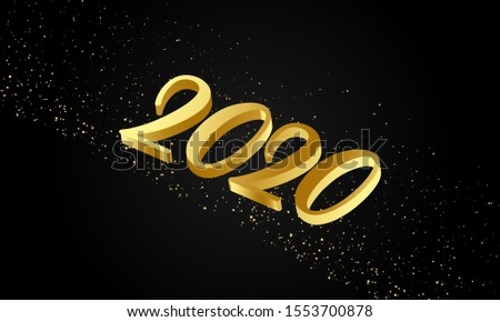 2020 golden typography new year background