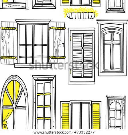 vintage window drawing. seamless pattern with windows. freehand drawing in vintage style. the window
