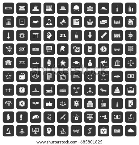 100 government icons set in black color isolated vector illustration
