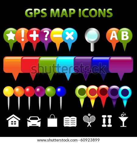 34 GPS Map Icons, Isolated On Black Background, Vector Illustration