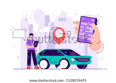 Gps system, cartography display, location on the city map, navigation in the smartphone and tablet, the path is paved to the car. Flat style vector illustration for web page, social media, documents