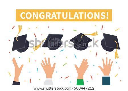 Graduation ceremony concept. Vector illustration.