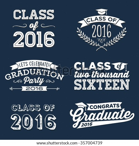 2016 Graduation Vector Set | Graduation Party, Congrats, Celebrate, High School / College Graduation Vector Set