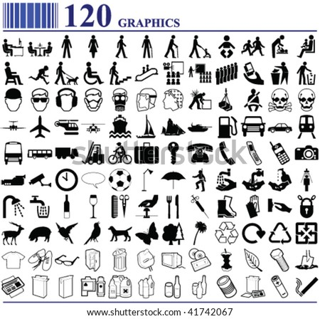 120 graphics various people transport animals and more - stock vector