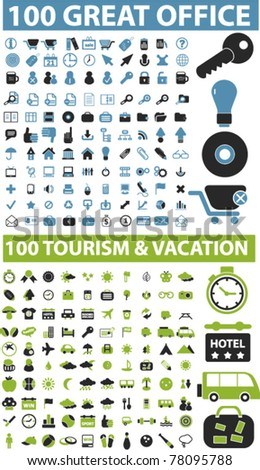 200 great office & travel & vacation icons, signs, vector - stock vector