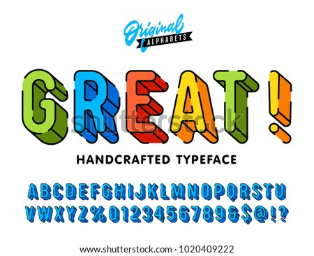 """""""Great"""" Vintage 3D Rounded Festive Alphabet with Dashed Line Contour. Colorful Funny Retro Typeface. Vector Illustration"""