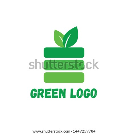 Green apple logo for organic shop or organic products.