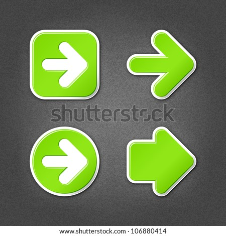 4 green arrow sign sticker web icon. Smooth internet button with drop shadow on gray background with noise effect. This vector illustration clip-art design element saved in 10 eps