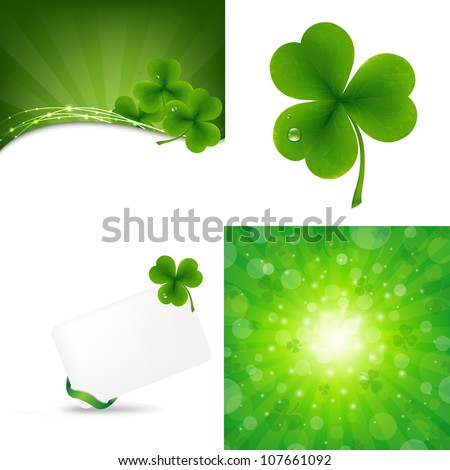 3 Green Background With Clover, Vector Illustration