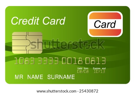 Green credit card, vector