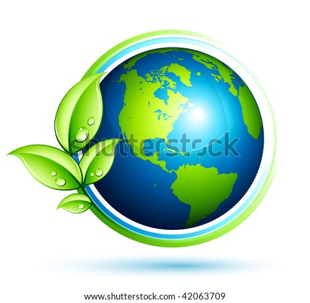 Green earth with leaves - stock vector
