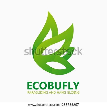 green eco butterfly logo or
