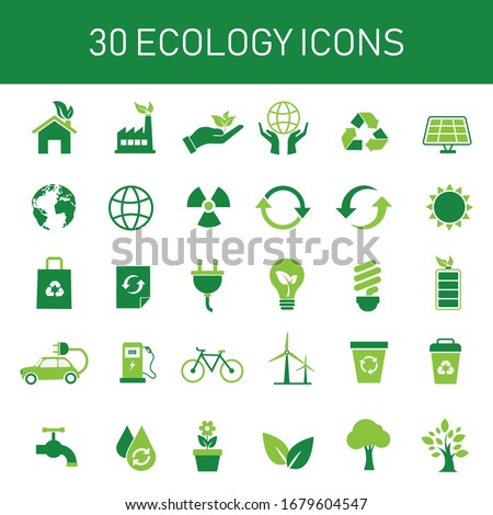 30 green ecology icon set. conservation saving support and solution.  energy sign and symbol. isolated on white background. vector illustration flat design. environment and sustainable concept.