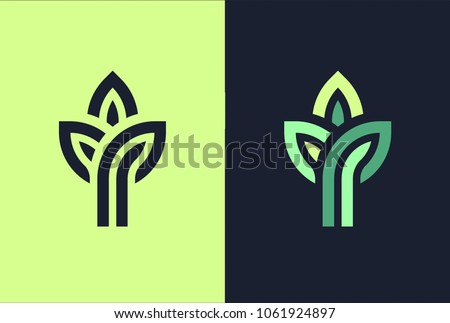 3 green leaf seedling growing plant logo.