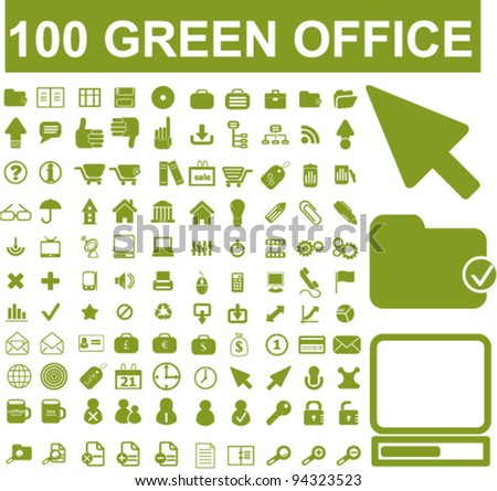 100 green office icons, vector