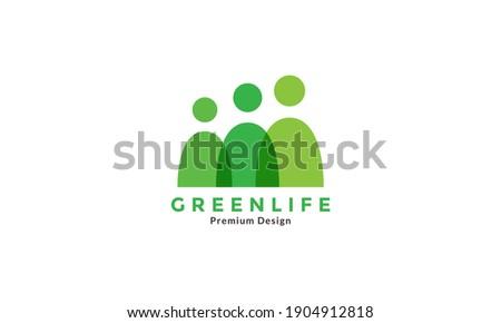 3 green people or human teamwork logo symbol icon vector graphic design illustration Foto stock ©
