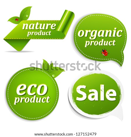4 Green Set Eco Tags With Gradient Mesh, Isolated On White Background, Vector Illustration