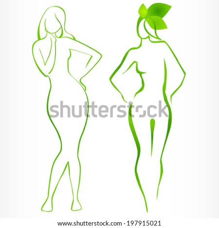 green silhouettes of girls