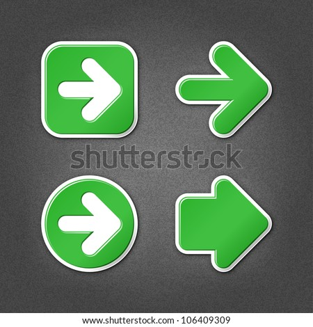 4 green sticker arrow sign web icon. Smooth internet button with drop shadow on gray background with noise effect. This vector illustration clip-art design element saved in 10 eps