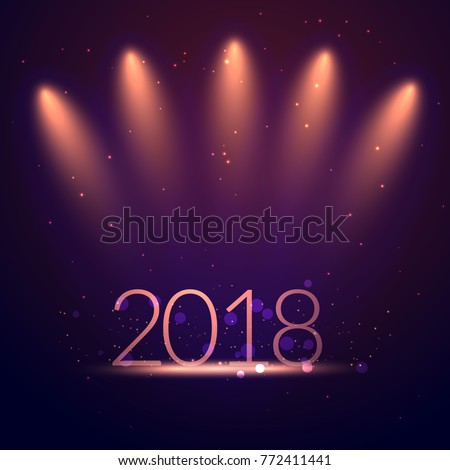 2018 greeting card background with studio party lights