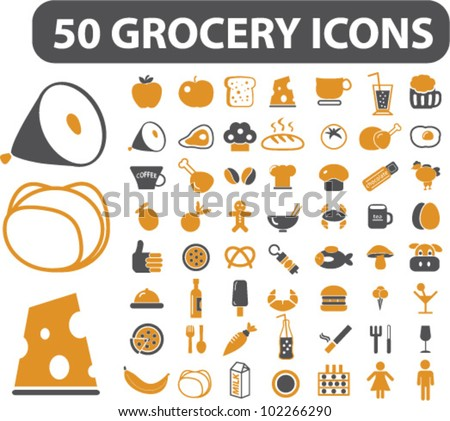 50 grocery & food icons set, vector