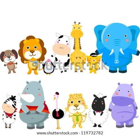 Vectores de animales: León, mono, jirafa, elefante - Descargue ...