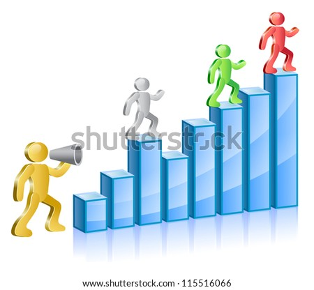 Group of people in different colors. Chief shouting in megaphone and subordinated walking up on diagram. Vector Illustration.