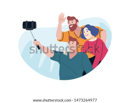 Group of traveller taking a selfie. Travelling people flat style illustration. Suitable for website, travel agencies, poster, and other printing material.