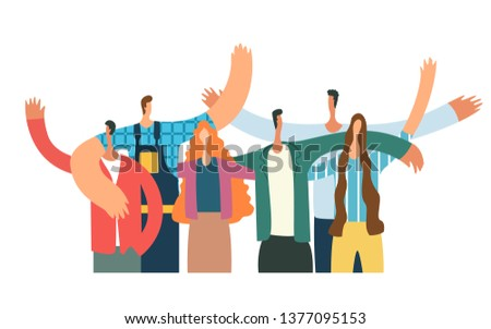 Group of young people hugging and waving. Happy students isolated on white background. Flat cartoon vector illustratio
