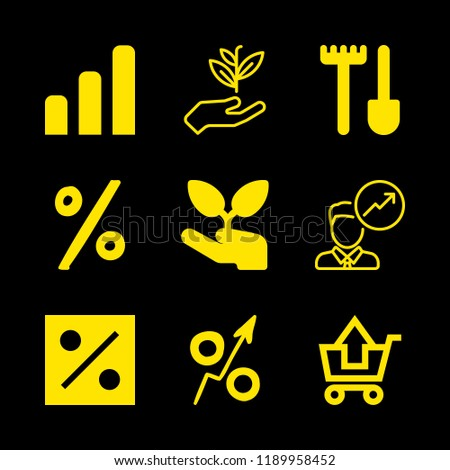 9 grow icons with growth and substracting of shopping cart in this set