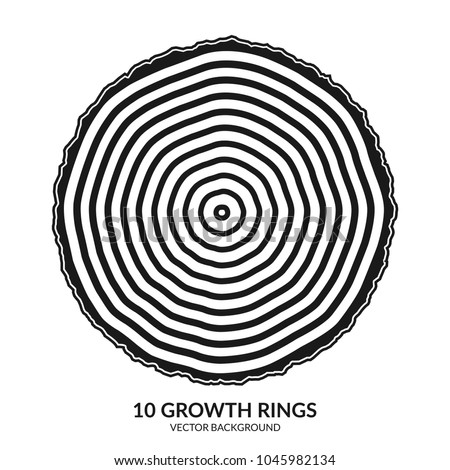 10 growth rings. Tree rings and saw cut tree trunk. Can be used as 10th anniversary concept. Vector illustration