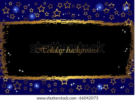 grunge a banner against blue background with gold stars. vector.