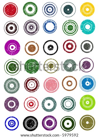 35 Grunge Circle Graphic Elements (Individually grouped, colors can easily be changed)