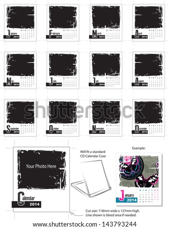 2014 Grunge Desk Calendar Vector Template. Simply add your own photos and company name and you are ready to print.