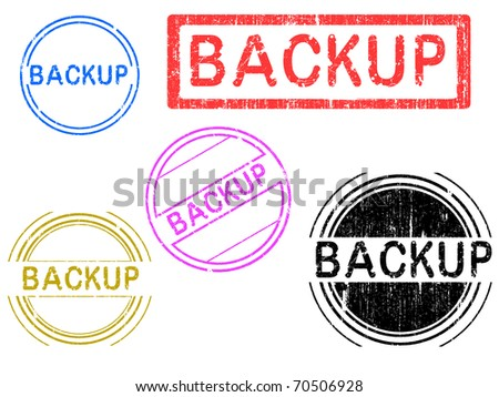 5 Grunge effect Office Stamp with the word BACKUP in a grunge splattered text. (Letters have been uniquely designed and created by hand)