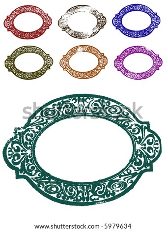 7 Grunge Ornate Borders (Transparent Vectors so they can be overlaid on to other illustrations etc)