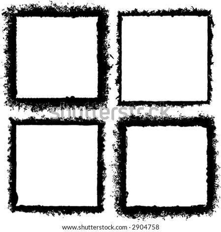 4 grunge style frames or borders