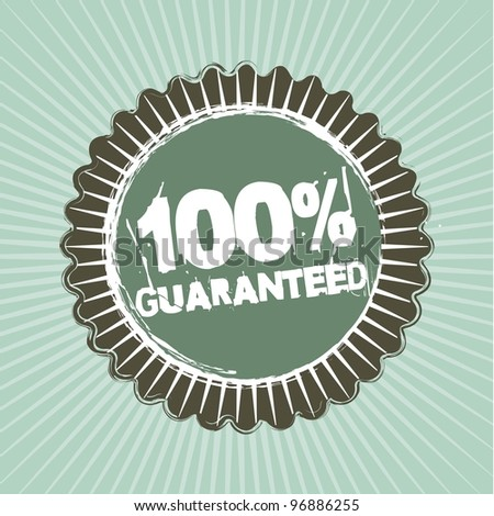 100 guaranted text over  tag. vector illustration