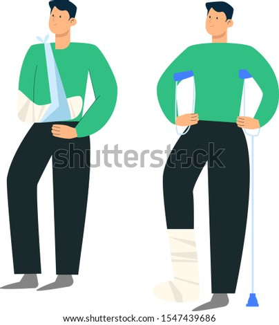 Guy on crutches Hand in a cast  Leg in a cast Vector illustration