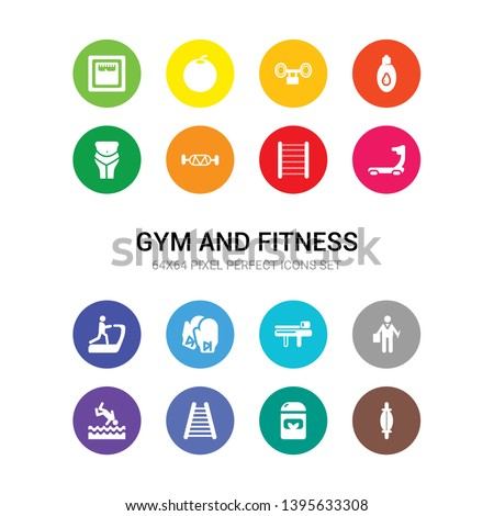 16 gym and fitness vector icons set included stretching punching ball, supplement, swedish wall, swim, trainer, trainer rod, training gloves, treadmill, treadmill machine, trellis, triceps bar icons