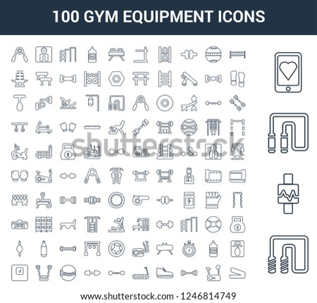 100 gym equipment universal linear icons set with Jumping rope, Watch, Chest expander, Smartphone, Dumbbells, Stationary bike, Dumbbell, Sneakers, Treadmill, Dumbbell