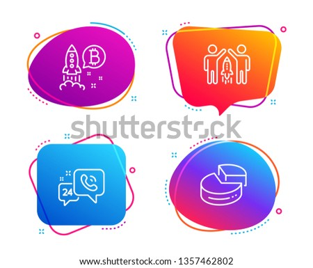 24h service, Partnership and Bitcoin project icons simple set. Pie chart sign. Call support, Business startup, Cryptocurrency startup. 3d graph. Technology set. Speech bubble 24h service icon. Vector