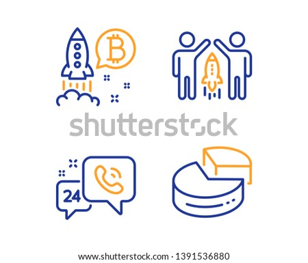 24h service, Partnership and Bitcoin project icons simple set. Pie chart sign. Call support, Business startup, Cryptocurrency startup. 3d graph. Technology set. Linear 24h service icon. Vector